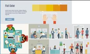 办公场所实景动态、办公家具、办公用品、商务沟通、商务交流矢量PPT素材