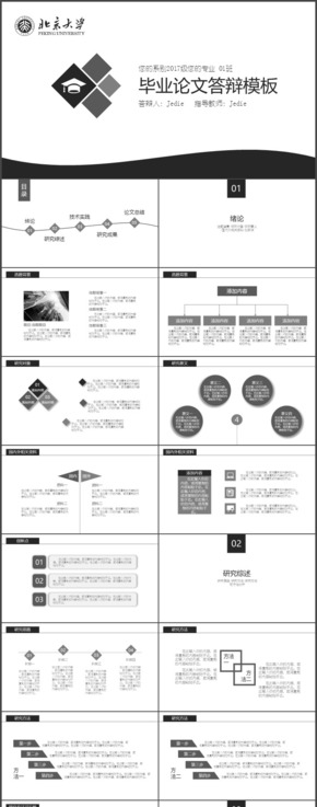 黑白灰个性高校毕业论文答辩通用模板JedieDesign