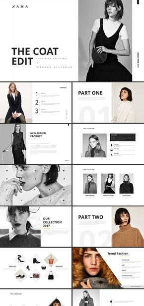 简约时尚风格服饰广告画册排版服装设计通用ppt模板