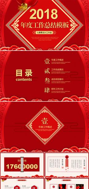 红色喜庆中国风狗年新年春节元旦年终总结计划汇报ppt模板