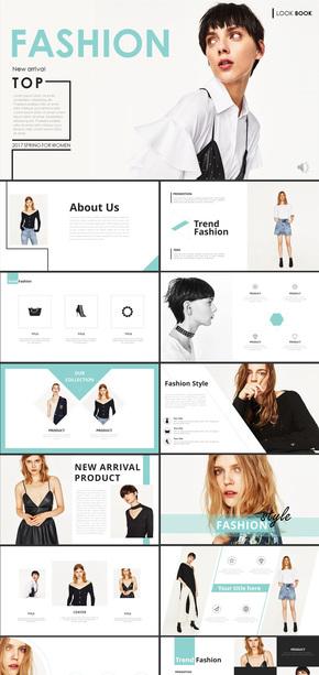 时尚简约服装新品发布会女装服装设计商务通用ppt模板