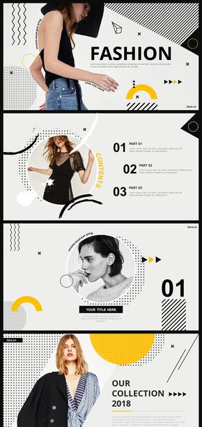 黑白色时尚服饰女装产品发布PPT模板