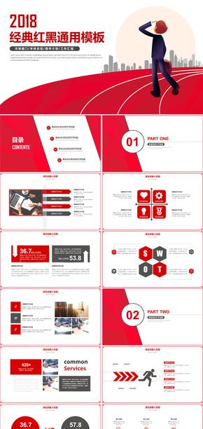 红色简约商务工作总结汇报通用PPT模板