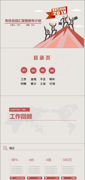 红色简约商务总结汇报PPT模板