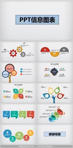 多彩可编辑PPT常用信息图表