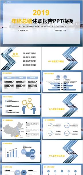 互联网科技蓝色扁平工作汇报总结述职报告PPT模板