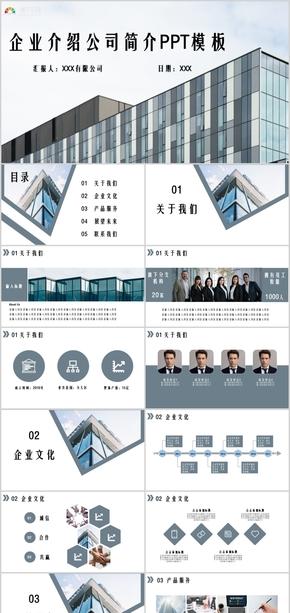 蓝色简约大气公司介绍企业简介商业计划PPT模板