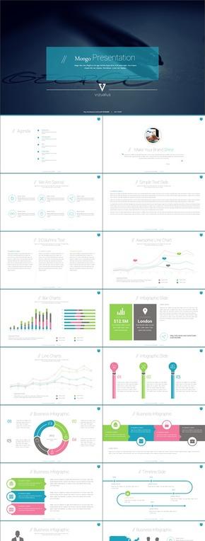 彩色扁平化图表类计划品牌策划PPT模板