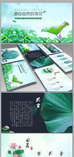 中国风小清新总结计划工作汇报公司简介水墨荷花