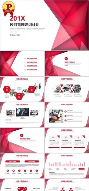 红色项目管理培训工作计划PPT模板