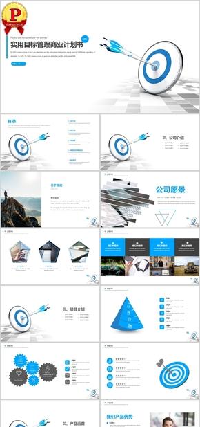 蓝色实用管理行业商业计划书PPT模板