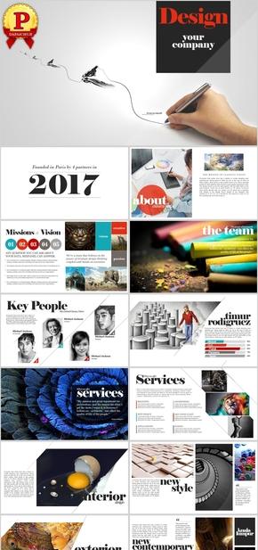 【顶级设计】欧美杂志风时尚图文排版PPT模板