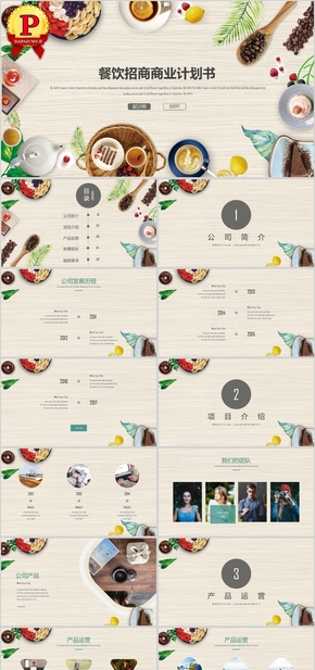 餐饮行业商业计划书总结PPT模板