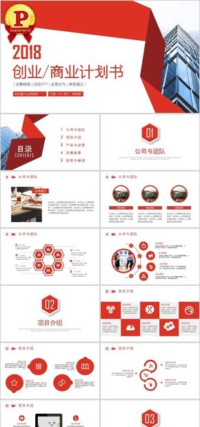 红色创意商业计划书融资PPT模板