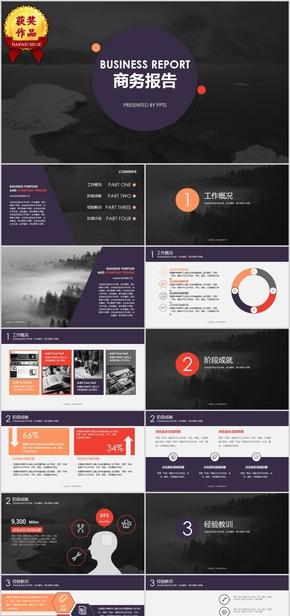 紫色简单商务报告工作总结