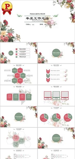 【顶级设计】夏天花朵小清新工作总结通用PPT模板