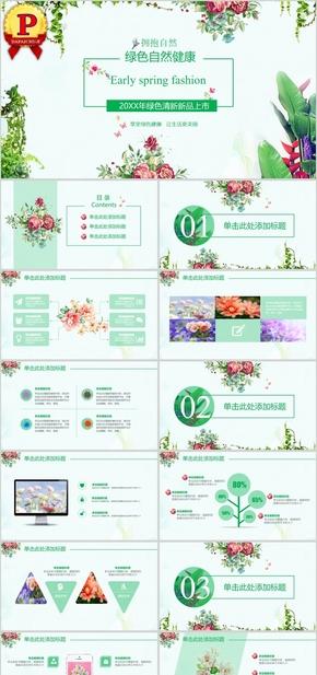【顶级设计】绿色自然清新工作PPT模板