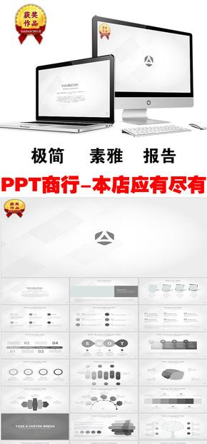 素雅简单灰商务报告商业计划PPT模板