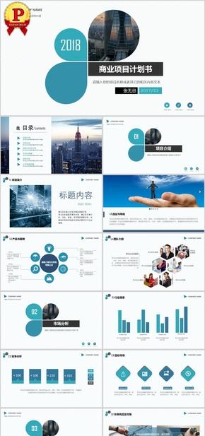 蓝色简约商务商业项目计划书答辩PPT模板