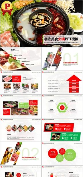 【顶级设计】餐饮美食美味火锅宣传介绍PPT模板