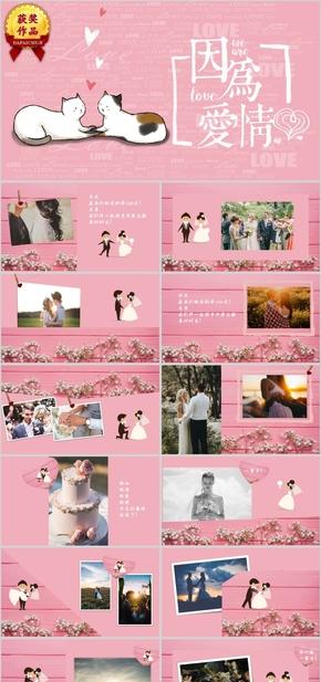 浪漫粉色爱情求婚婚礼相册通用PPT模板