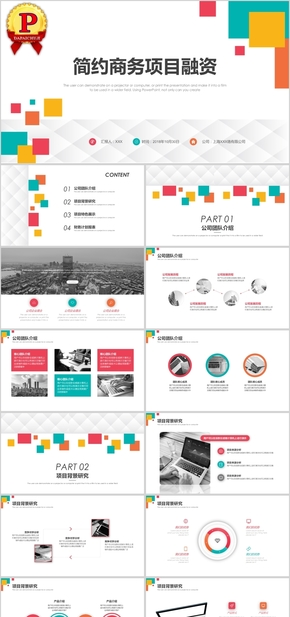 多彩格子简约商务项目融资方案PPT模板