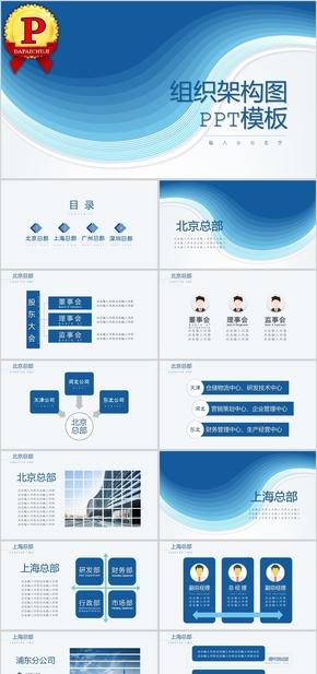 蓝色高端商务风企业组织架构图PPT模板