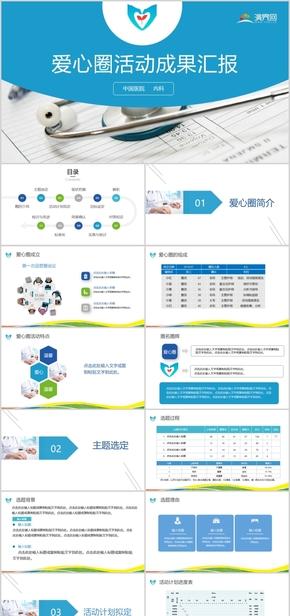 蓝色医疗QCC护理品管圈PPT模板