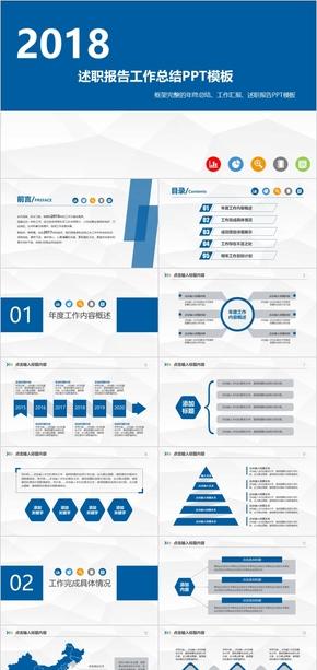 蓝色简约商务风年终工作总结汇报述职报告PPT模板