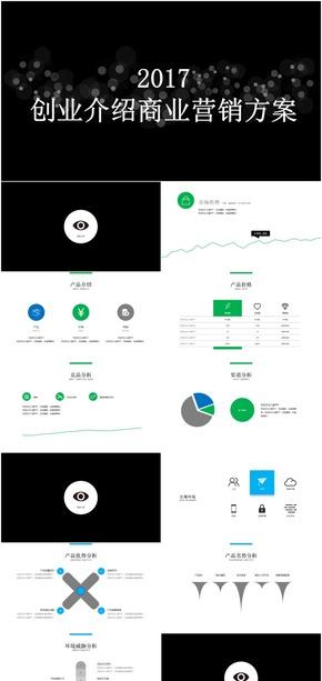 酷黑简约大气公司团队创业方案介绍ppt模板