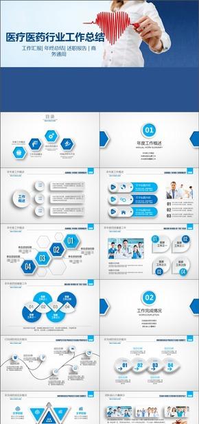 蓝色医疗行业通用动态工作汇报PPT模板