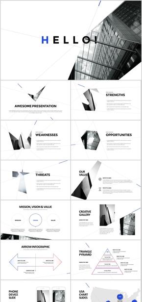 欧美杂志风 超酷不规则版式PPT模板 图文混排 商务风