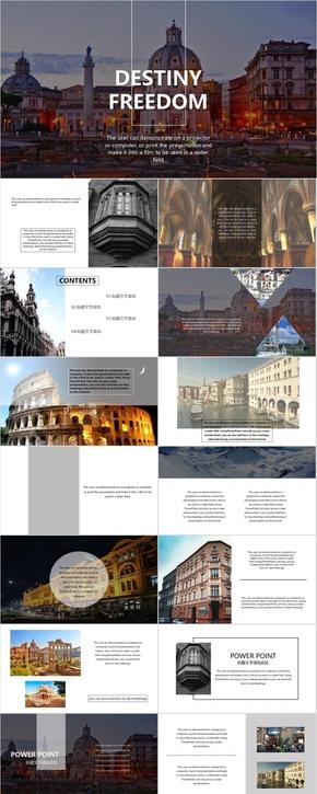 欧美杂志风PPT模板 大图简约多图文排版 画册风PPT