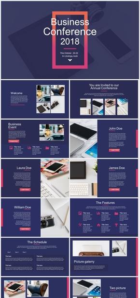 欧美杂志风PPT模板 蓝紫炫酷时尚 多图文混排