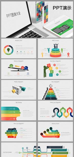 計劃總結簡約時尚歐美圖表餅圖、柱狀圖PPT模板