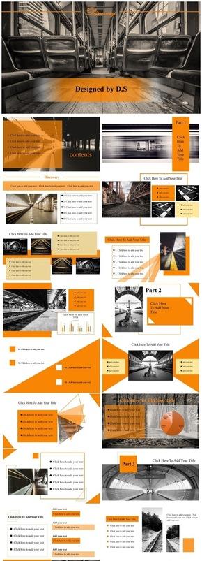 商务风格扁平化橙色黑色艺术展览总结渐变会议模板