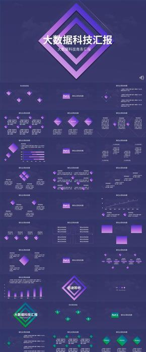 蓝色紫色渐变简约大气科技工作汇报