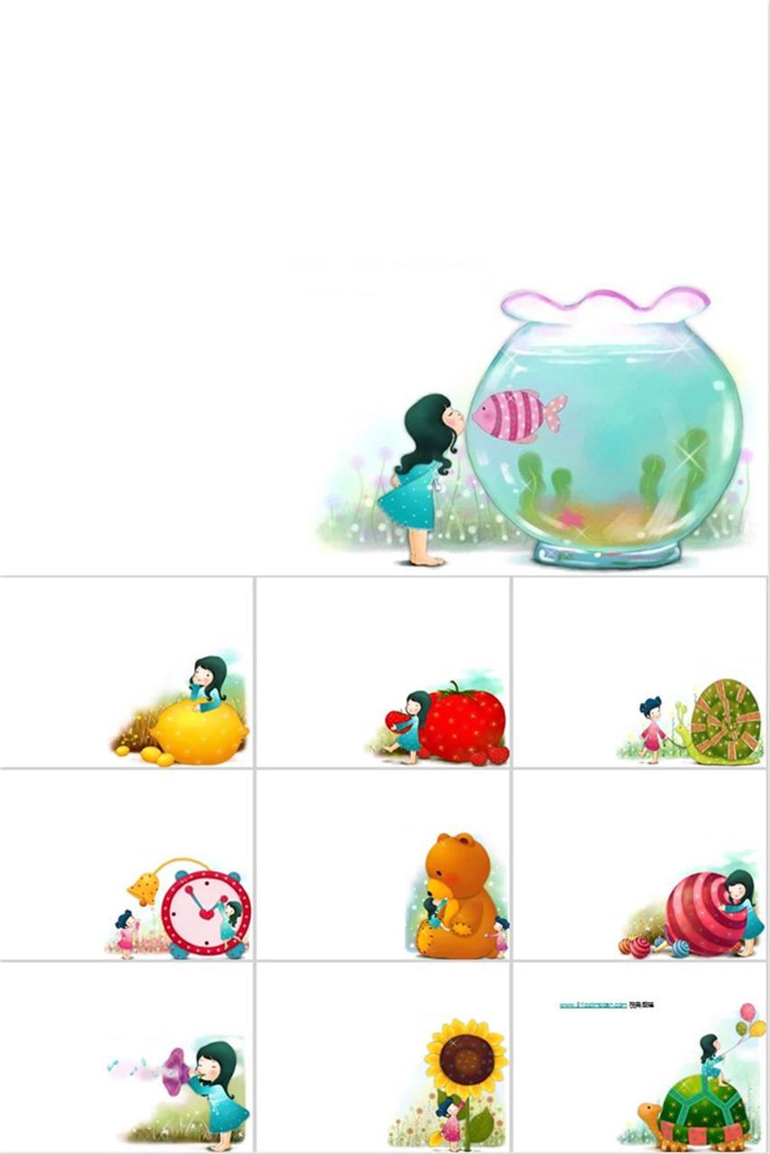 作品标题:六一儿童节卡通可爱小学老师ppt模板 02图片