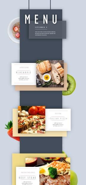 扁平化简约餐厅菜品介绍PPT模版