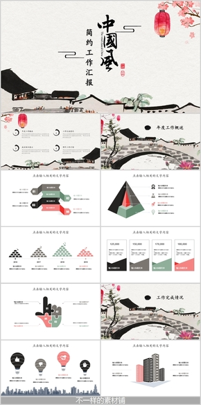 復古中國風簡約工作匯報PPT模板