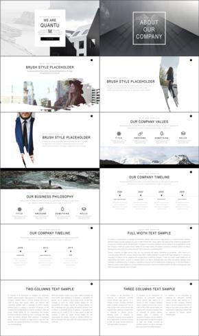 白色欧美商务风企业公司介绍PPT模板