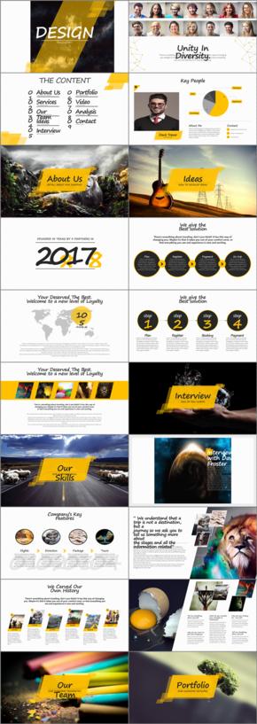 黄色扁平欧式商业企业公司介绍PPT模版