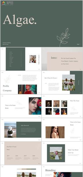 極簡淡雅北歐創意模特培訓藝人培訓PPT模特公司簡介攝影設計師品牌工作室宣傳時尚大氣個人簡歷PPT模板