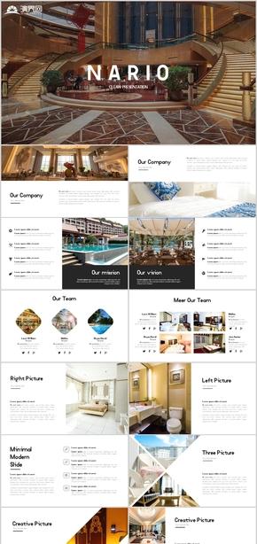 高端歐美風星級連鎖度假村酒店宣傳酒店計劃書PPT