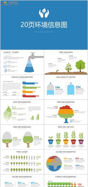 20页环境信息图环保地球数据图表商业图表分析蓝色图表资源营销数据统计动态图表