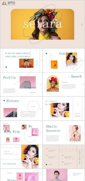 莫蘭迪高端唯美時尚模特品牌時裝公司宣傳雜志風文藝唯美極簡攝影攝像時裝時尚廣告海報品牌宣傳PPT模板