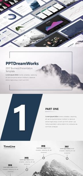 2017歐美風商務風簡約實用商務匯報總結PPT模板