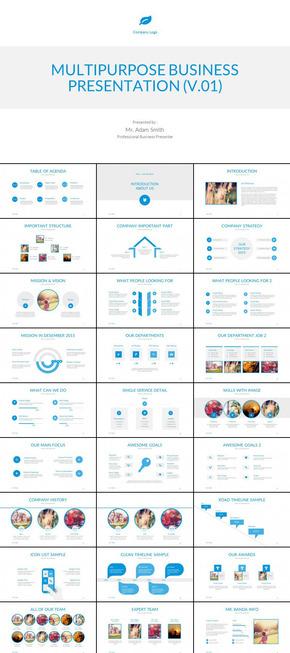 蓝色扁平化欧美企业年终总结汇报新年计划企业宣传简介商业创业计划PPT模板