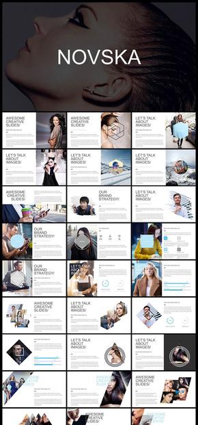 欧美风 扁平化 图片展示介绍 宣传画册 时尚杂志 电子相册 企业介绍 产品发布等PPT多用途模板