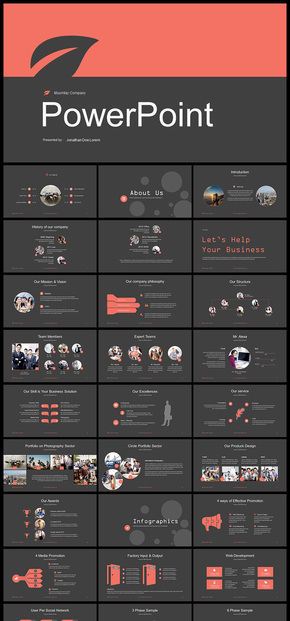 【橙红色】欧美风扁平化企业介绍企业宣传商业创业计划书工作总结汇报等企业商务ppt模板